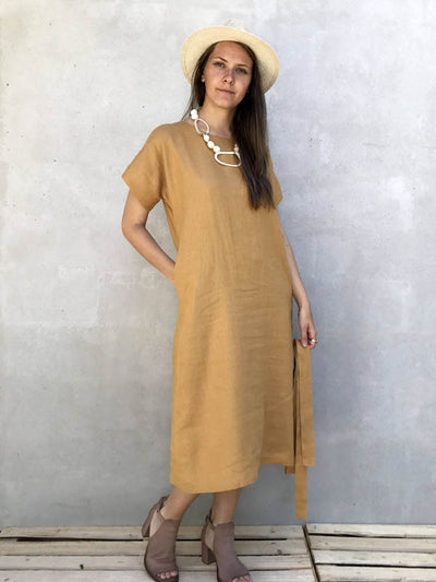 Long Linen Tunic Dress 'Rebecca' with Short Sleeves-Linenbee