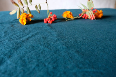 Linen tablecloth in Deep Teal, linen tablecloths in many colors