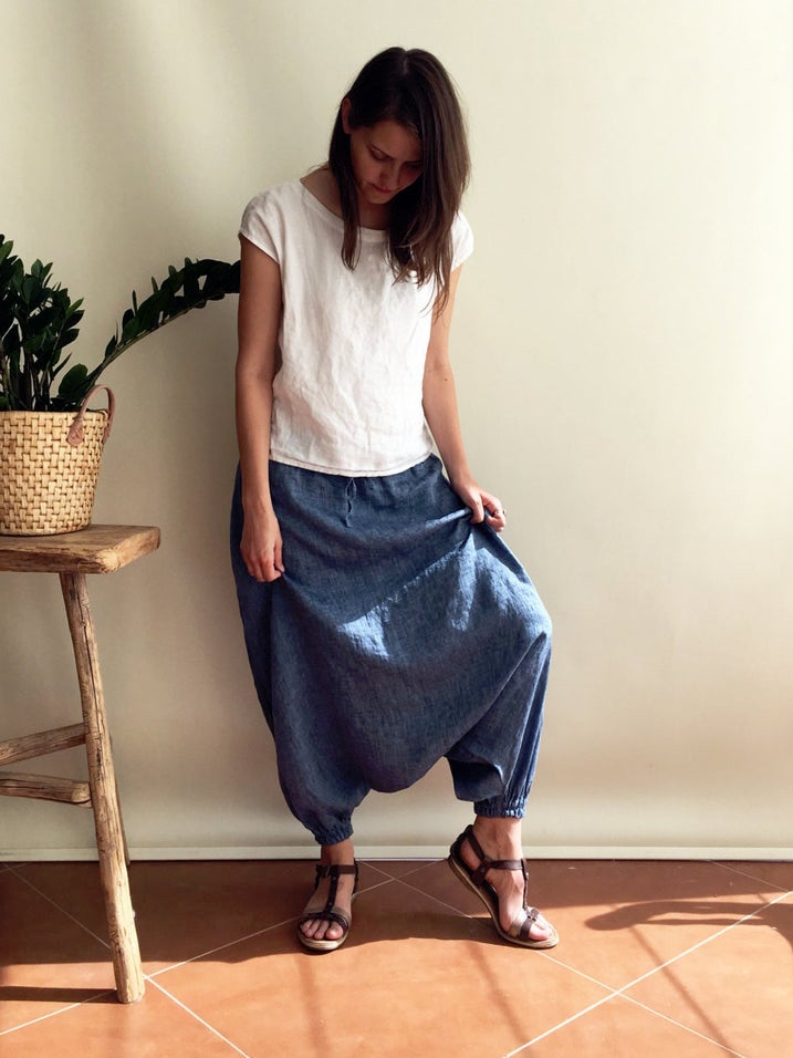 Ready to Ship: Blue Linen Harem Pants Size XS, Linen Yoga pants