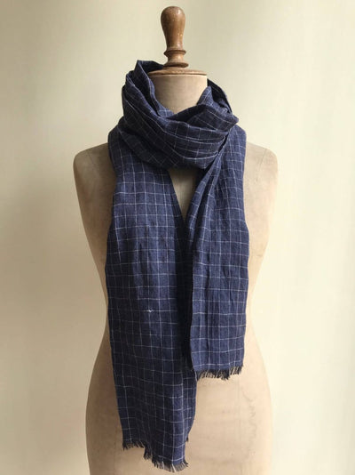 Linen Scarf Navy Windowpane