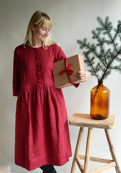 'Carol' Buttoned Linen Dress with 3/4 Sleeves