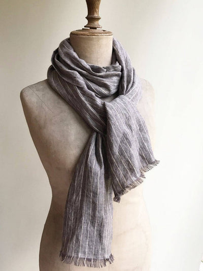 Striped Linen Scarf for Men