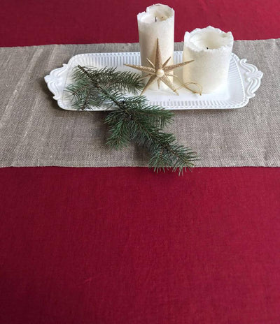 Maroon Red Linen Table Cloth, Christmas Linen Tablecloth