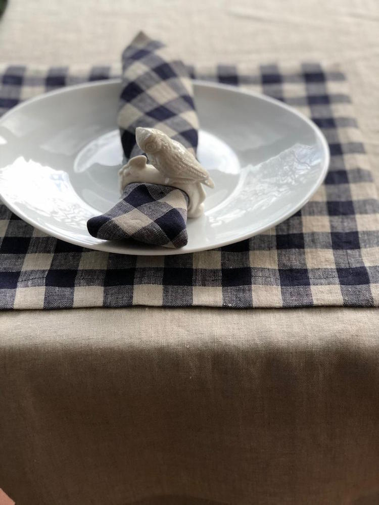 Blue Checks Linen Napkins, Set of Six Natural Cloth Napkins