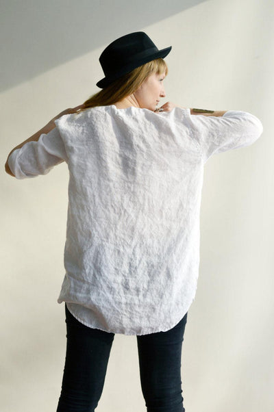 White Linen Shirt, Womens Shirt, Tunic Shirt, 3/4 sleeve shirt, boyfriend shirt, plus size shirt, summer shirt, light shirt, boho shirt