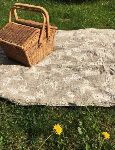 Light Blanket, Duplex Linen blanket, Linen throw, butterfly linen blanket, Natural Blanket, Linen coverlet, Daybed blanket, Christmas gift