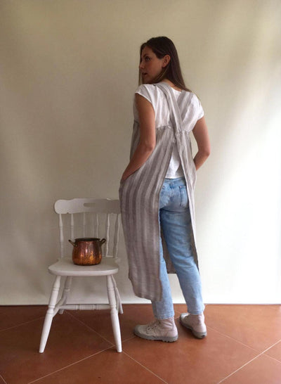 Striped Pinafore Apron, Japanese Apron, Long Linen Apron, Kitchen Apron, Crafts Apron, Womens Apron, Vintage, Handmade, Cross over apron