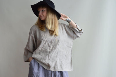 Oversized linen top, boxy top, Plus size linen shirt, Plus size top, Boho Top, Boxy Shirt, Oversized Black Top, 3/4 sleeves, Linen Tunic Top