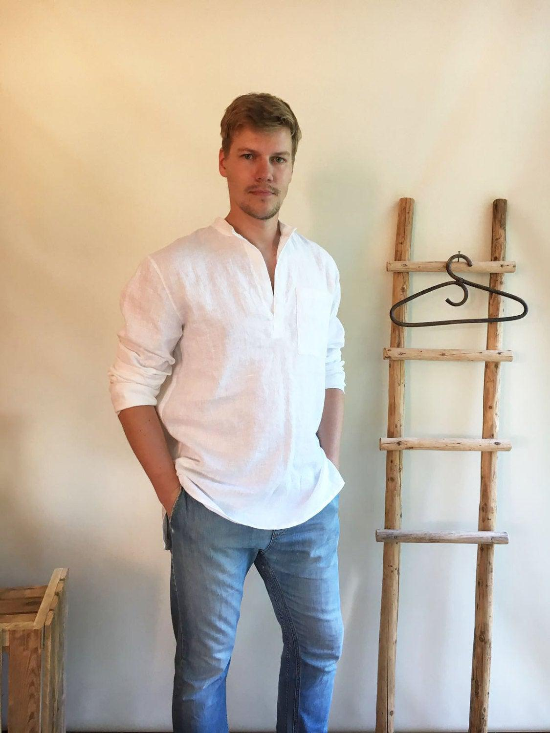 Linen Shirt Men, Mens Shirt, White Linen Shirt Dress, Long Sleeve Loose shirt, Mens clothing, Boho Beach Wedding Plus size shirt men gift