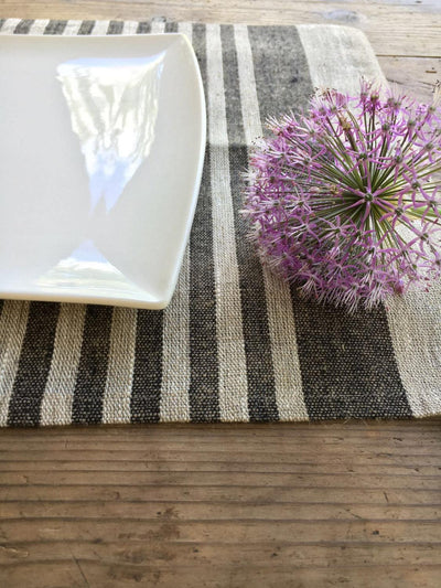 Linen placemats, set of 6 linen placemats, Cloth placemats, striped placemats, rustic placemats, country placemats, washable placemats