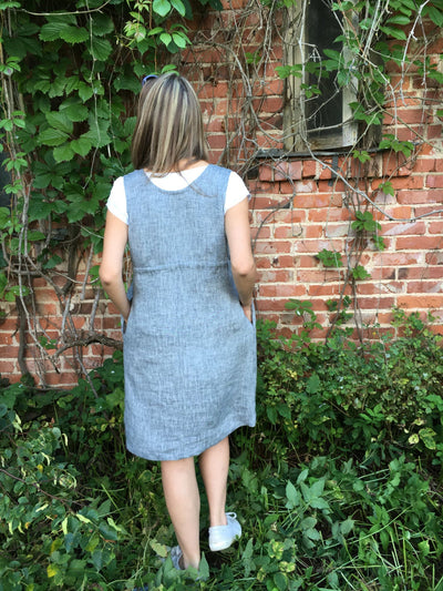 Sleeveless Pinafore Dress, Knee Length Pinafore, Linen Dress, Linen Pinafore Plus Size Sundress, Linen Dress Women, Loose Dress, Adjustable