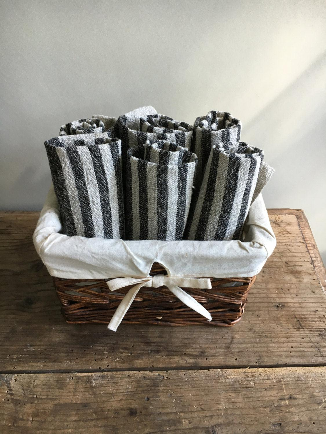Rustic Kitchen towels, Set of four Linen Towels, Striped Towels Kitchen towels Durable towels Country house towels tea towels natural linen