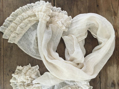 White Scarf, Linen Scarf With Ruffle, Wraps Shawl, Womens Shawl, Linen Shawl, long scarf, Pure linen wraps shawl, Rustic scarf, wedding
