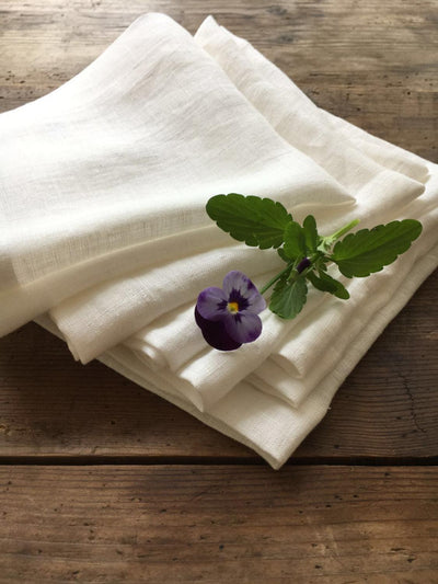 Linen Napkins, Cloth Napkins, White Linen Napkins, Soft White Napkins, Eco friendly Napkins, Wedding Napkins, Cocktail Napkins, Dinner