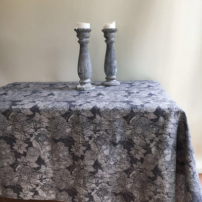 Dark Tablecloth with Frayed Edges, Linen Table Cloth, Tablecloth Rectangle, Tablecloth Square, Black Tablecloth, Grey tablecloth, Dark linen