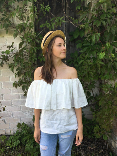 Off shoulder Frill Top, Linen Bardot Top, Boho Linen Blouse, Gypsy Blouse, Off the Shoulder ruffled top, Peasant linen, summer blouse, white