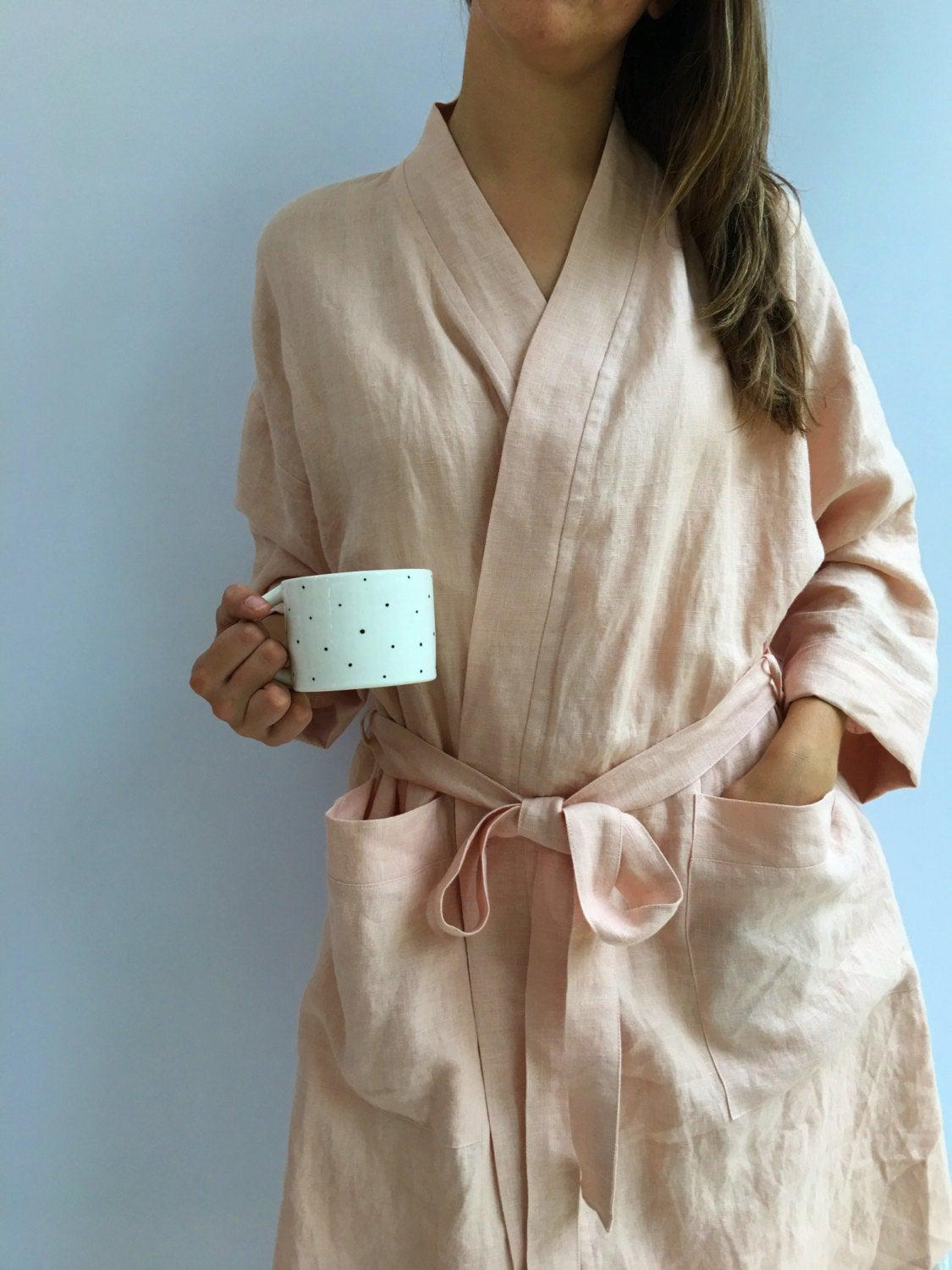 Linen robe, soft kimono robe, robe coverup, robe for bride, linen bath robe, linen night gown, morning dress, linen sleep wear, women robe