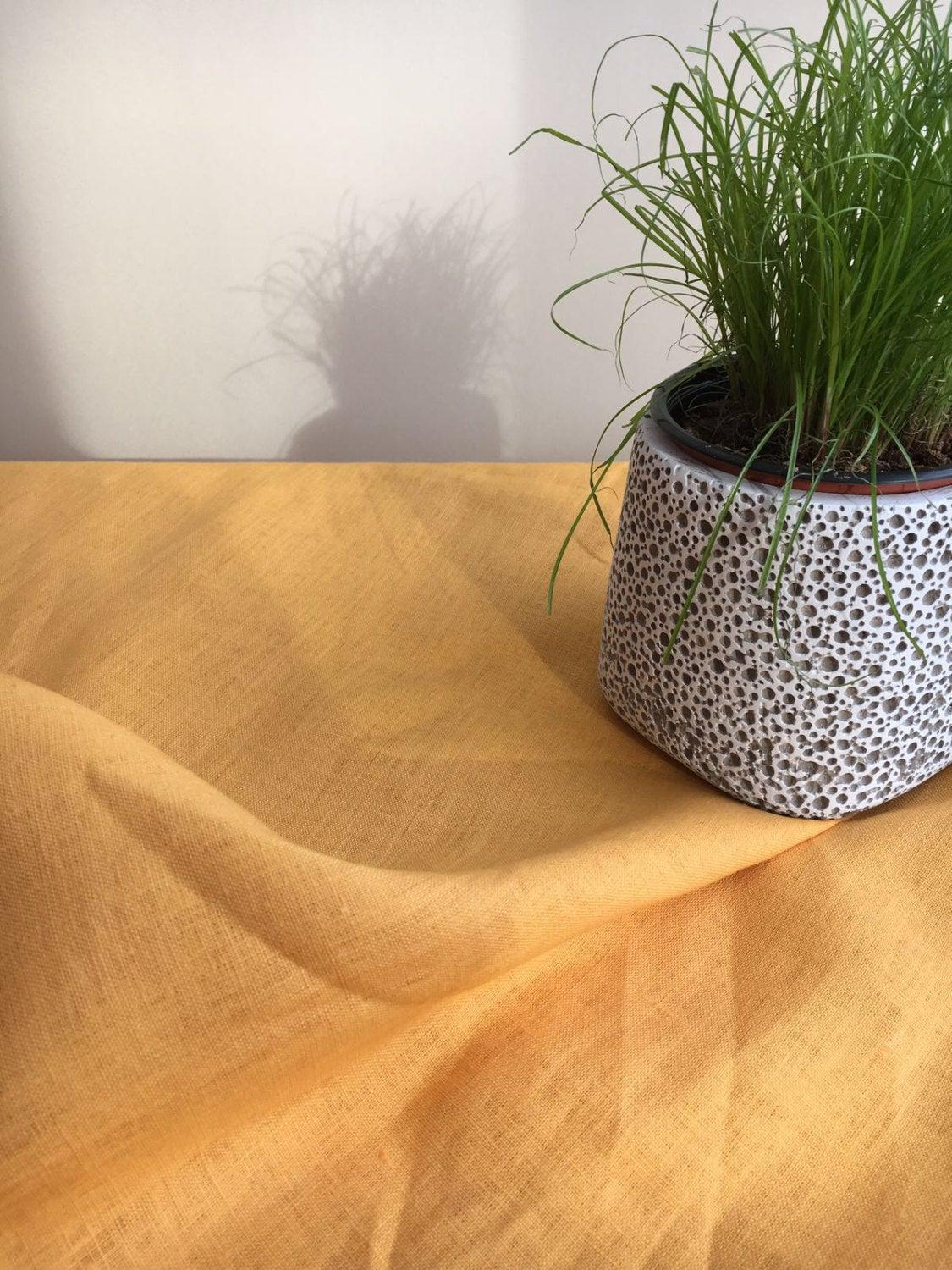 Yellow Linen Table Cloth, Sunny Linen Tablecloth Rectangle, Tablecloth Square, Tablecloth linen, Custom Tablecloth, Summer Tablecloth