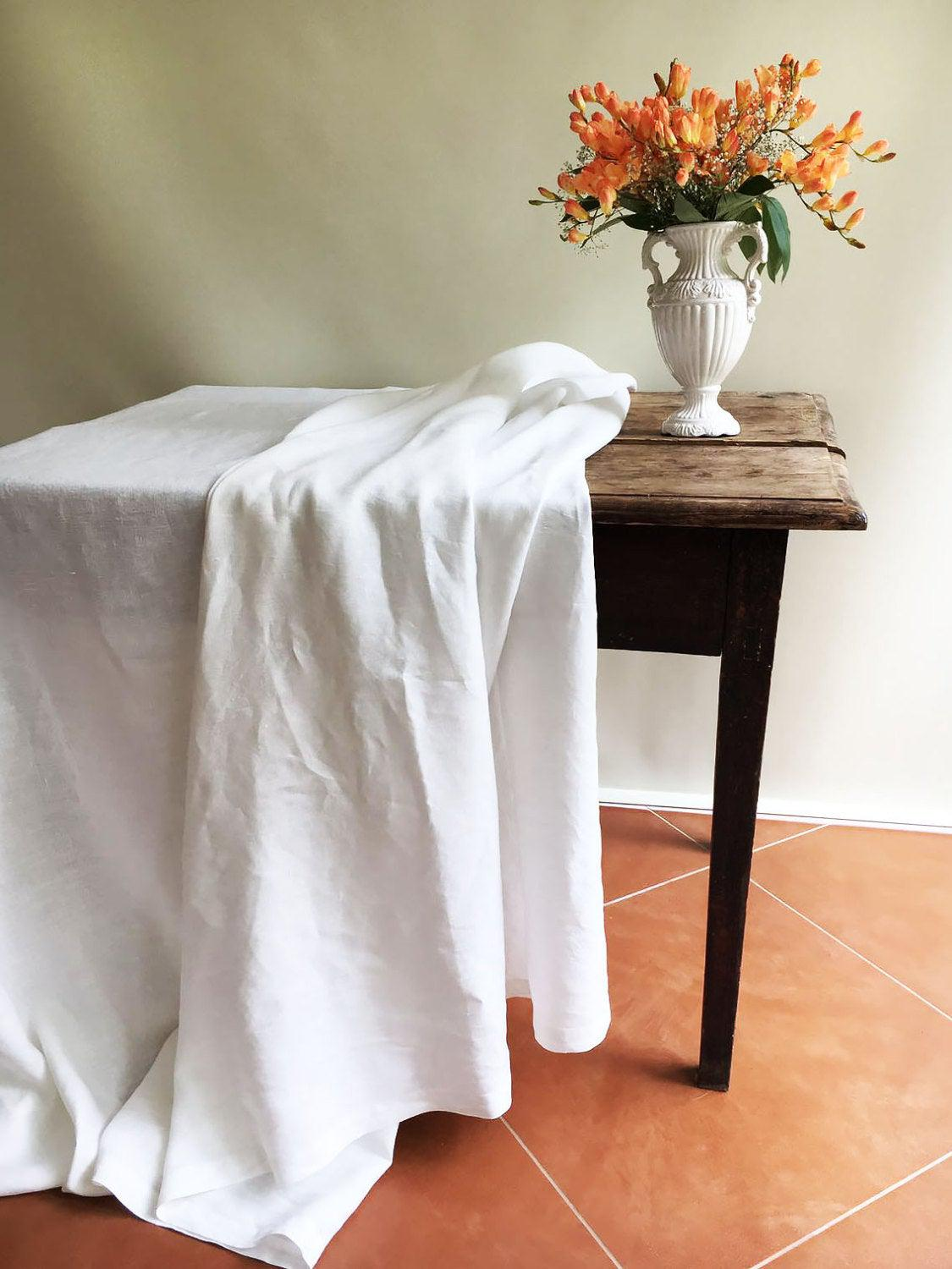 White Linen Table Cloth, Pure White Linen, Tablecloth Rectangle, Tablecloth Square Pure White Tablecloth linen Tablecloth Creamy White linen