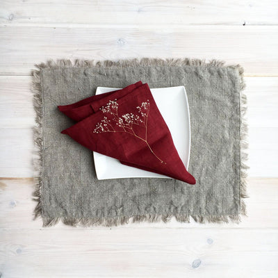 Christmas Napkins, Maroon Red Linen Napkins, Cloth napkins, Red Napkins, Maroon Napkins, Christmas Table, Holiday Table, Set of napkins
