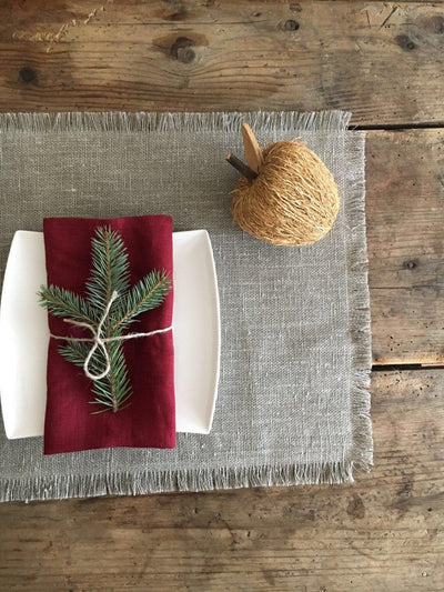Christmas Placemats, Linen Placemats, Set of placemats, Christmas table, Natural Placemats, Rustic Placemats, Table Mats, Place Mats Burlap