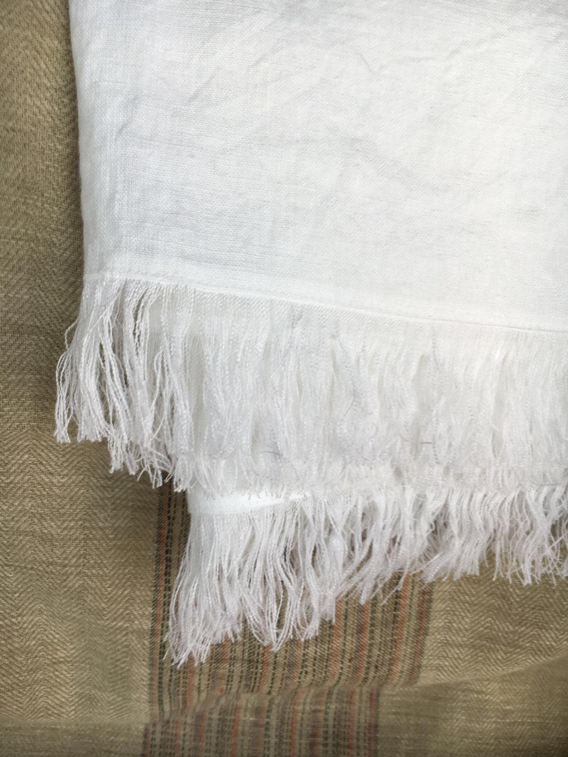 White Linen Throw, Light Blanket, Light Throw, Natural Blanket, Daybed blanket, Summer Blanket, European Linen