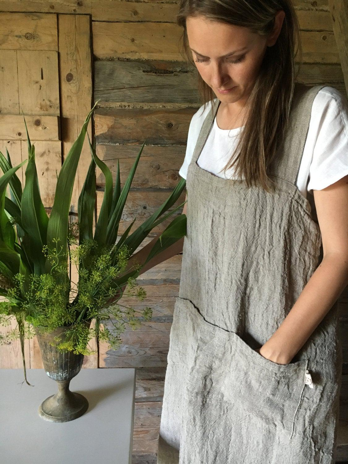 Rustic Pinafore Apron, Japanese Apron, Long Linen Apron, Kitchen Apron, Crafts Apron, Womens Apron, Vintage, Handmade, Cross over apron