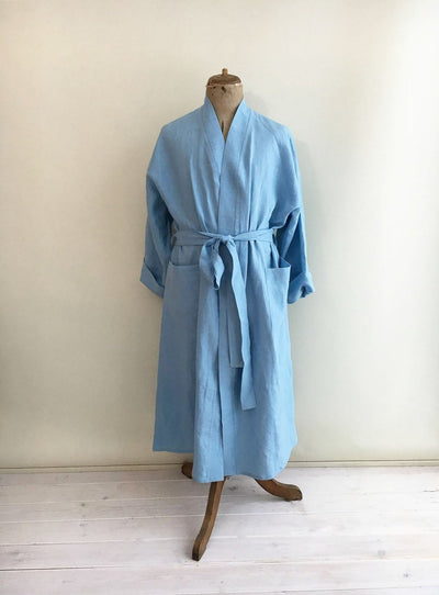 Linen Bath robe, Womens Linen Robe, Linen Robe, Womens Robe, Kimono Robe, Soft Nightgown, Womens Sleep Wear, Morning Gown, Light Blue