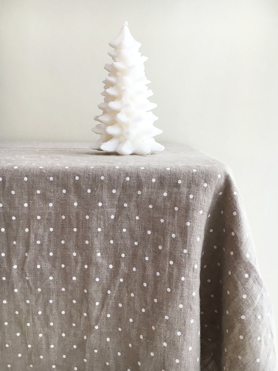 Linen Christmas tablecloth, White dotted tablecloth