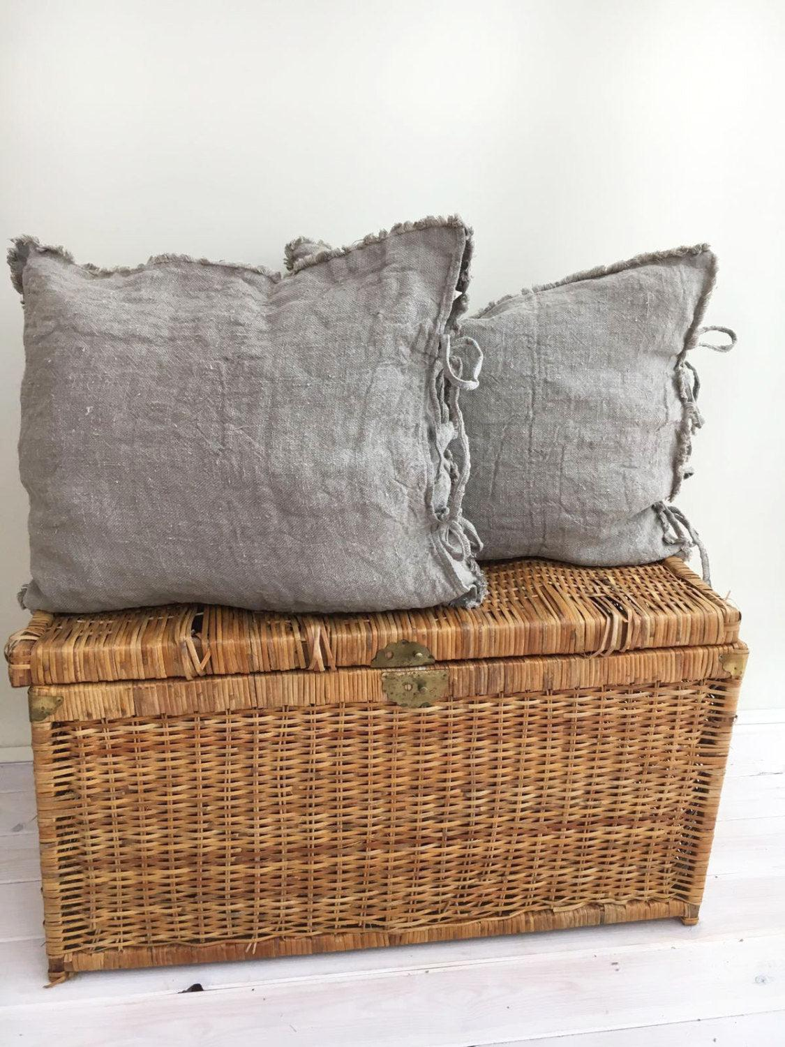 Burlap Pillow Covers, Farmhouse Shams, Throw Pillow Covers 18 x 18 Rustic linen shams Natural Raw linen sham covers Linen Pillowcases Burlap