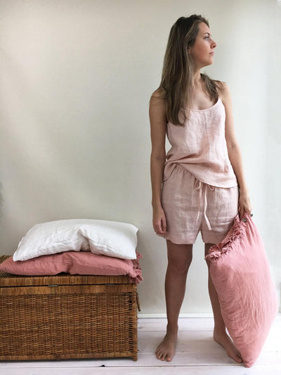 Linen pyjama, pink pajama, pajama shorts and top, pajama loungewear, gift for her, valentines gift, gift for daughter, short linen pyjama