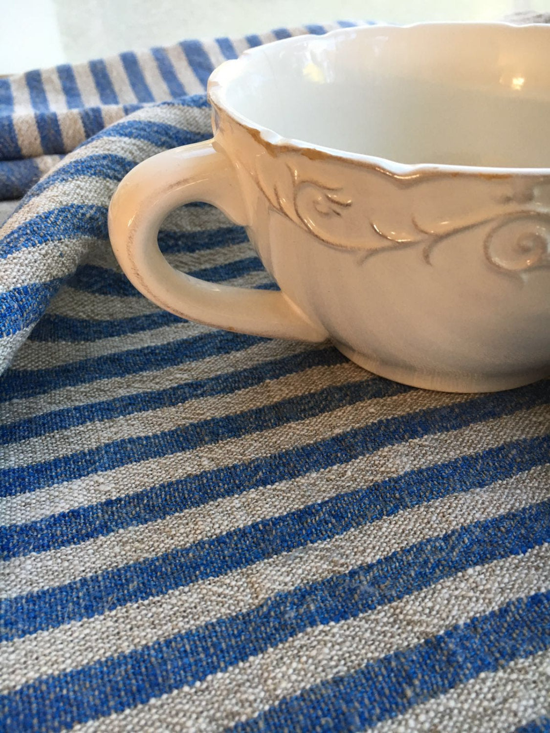 Set of Three Heavy Linen tea towels, dish towels, kitchen towels, blue striped linen towels, dish towels with blue stripes by Linenbee