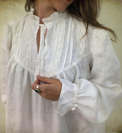 Linen nightgown, Handmade Victorian nightgown with lace, soft robe, nightgown womens kaftan, robe for bride, morning dress, gift for her