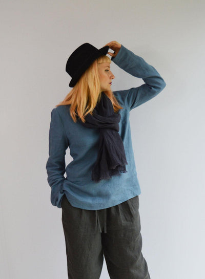 Linen Top with Long Sleeves, Linen Blouse, Linen Shirt with Sleeves, Plus size shirt, Blue Linen Blouse, Loose Linen Shirt, Plus size top