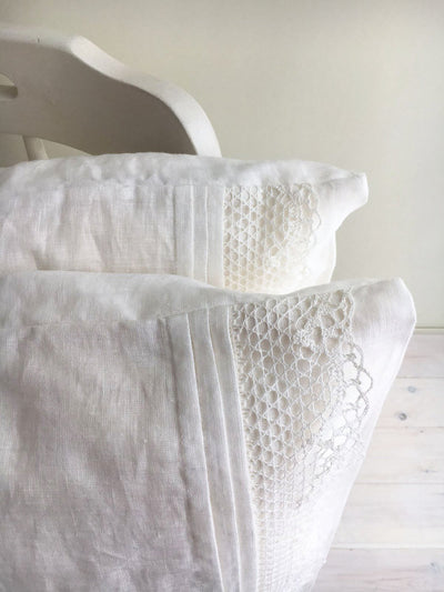 White Linen Pillowcase with Lace, Romantic Pillowcase, Antique Shabby Chic Sham, Queen, King, Standard Linen Pillowcase, Linen Bedding