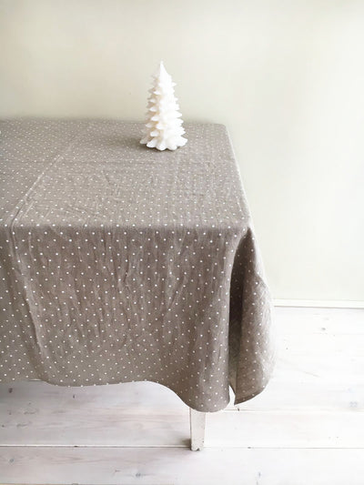 Linen Christmas tablecloth, White dotted tablecloth, Stonewashed natural linen tablecloth, rectangle tablecloth Christmas table polka dots