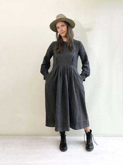 Linen Maxi Dress, Winter Dress, Long linen dress, plus size maxi dress with sleeves, plus size dress, peter pan collar dress, vintage style