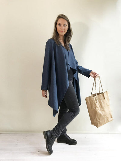 Loose Linen Cardigan, Linen Kimono Jacket, Dark Blue cardigan, Linen Coverup, Linen Jacket Womens, Loose Jacket Plus size Plus size clothing