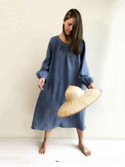 Blue Linen Maxi Dress with Long Sleeves, Blue Maxi Dress, Linen Dress, Plus size dress, Tunic Dress, Plus size Maxi Dress Women Plus, Boho