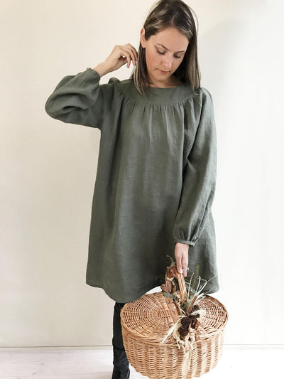 Loose Linen Tunic with Beautiful Shirring, Womens Tunic, Plus Size Clothing, Linen Tunic Dress, Womens Tunic, Plus size Tunic, Green Tunic