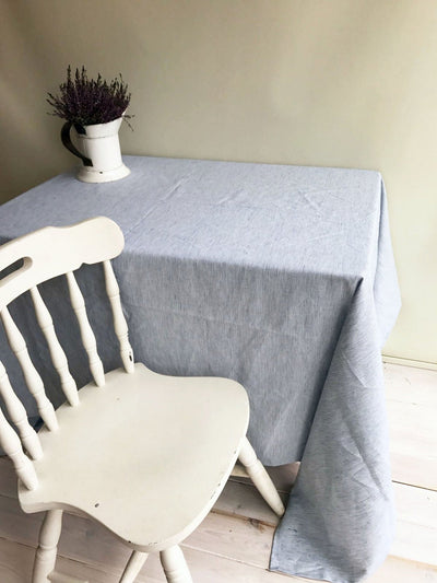 Linen tablecloth, striped tablecloth, blue and white wrinkled tablecloth by Linenbee rectangle tablecloth, custom tablecloth, oval, round