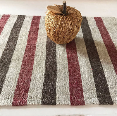 Striped linen placemats, set of 10 placemats, striped placemats, rustic placemats, country placemats, natural placemats, red black ticking