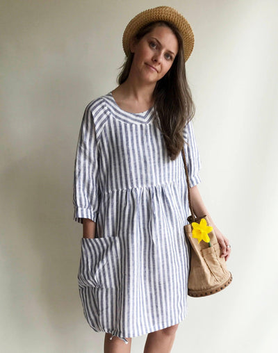 Striped Linen Dress, Summer Dress, Womens Dress, Plus Size Tunic Dress, Loose Dress, Linen Dress Plus size Linen Dress Woman with sleeves