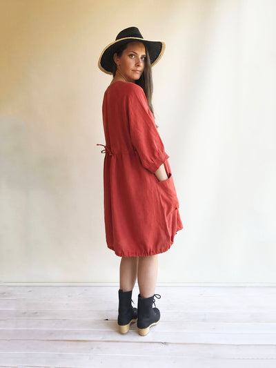 Loose Linen Dress in Clay Orange, Linen Dress Plus size Linen Dress Linen Dress for Women, Dress with Sleeves, Womens Dress, Tunic Dress