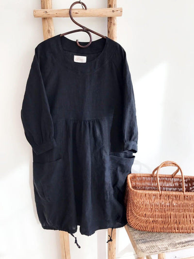 Comfortable Loose Tunic Dress, Linen Tunic for women, Plus size tunic, Linen Dress, Linen Tunic Dress, tunics for women, Black Tunic Dress