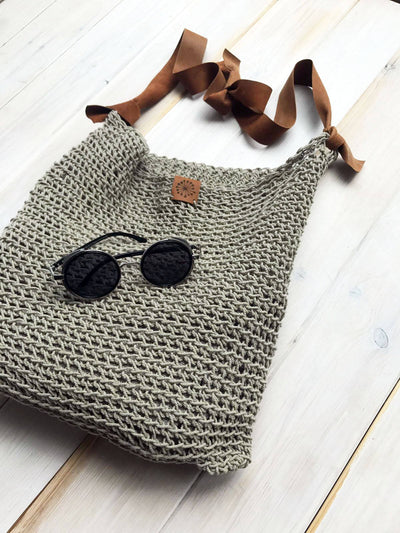 Linen Tote Bag, Rustic Shoulder Bag, Natural Summer Bag with Leather strap, Crochet tote bag, Beach bag, Crochet bag, Boho Shoulder Bag