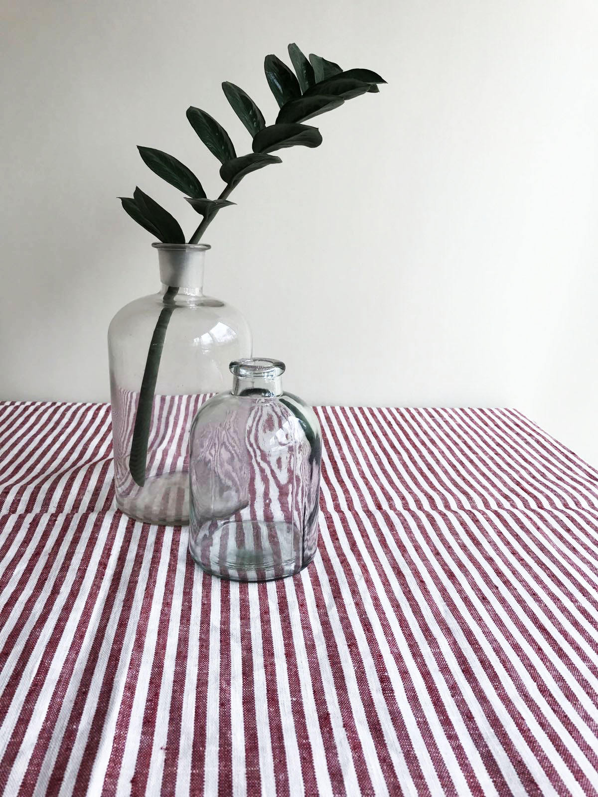 Red striped tablecloth from linen, linen table cloth, square tablecloth, rectangle oval rustic table, country tablecloth, red and white