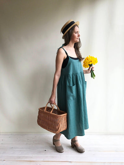 Linen Sundress, Linen Strap Dress, Womens Sundress, Linen Jumper Dress, Plus Size Dress, Sleeveless Dress, Linen Dress Women Jumper Pinafore