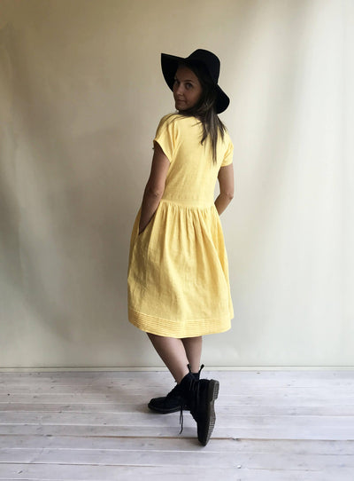 Linen Dress, Midi dress, Dress with sleeves, Dress Woman, Summer Dress, Bridesmaid Dress, Linen Dresses for Women, Yellow Dress, Romantic