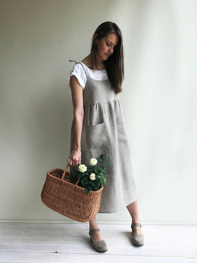 Natural Linen Strap Dress, Womens Sundress, Linen Jumper Dress, Plus Size Dress, Sleeveless Dress Linen Dress Women Jumper Pinafore Sundress